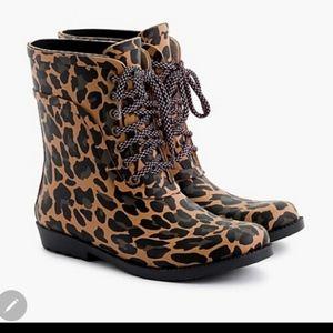 J. CREW rain boots- NWT leopard snow boots size 10
